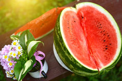 Summer Water Melon Slice Composition With Flowers Stock Photo