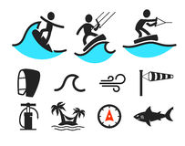 Summer water sport pictograms Royalty Free Stock Image