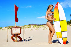Summer Water Sports. Beach Vacation. Surfing. Woman In Bikini. Summer Water Sports. Beach Vacation. Surfing. Beautiful Fit Smiling Surfer Woman With Body In royalty free stock photos