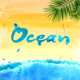 Summer watercolor background Stock Photos