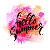 Summer Watercolor Design. Summer Typography Lettering. Vector illustration Stock Photos