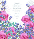 Summer watercolor exotic flowers and lavender. Vector beauty invitation card background Stock Images