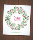 Summer watercolor floral wreath with paper flower Royalty Free Stock Photo