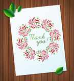 Summer watercolor floral wreath paper flower on wood planks Greeting card background Royalty Free Stock Photography