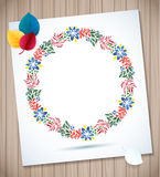 Summer watercolor floral wreath  paper flower on wood planks Greeting card background Royalty Free Stock Image