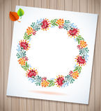Summer watercolor floral wreath with paper flower on wood planks Greeting card background Stock Photography