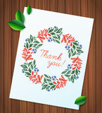 Summer watercolor floral wreath paper flower on wood planks Greeting card background Stock Photo