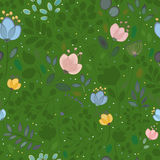 Summer Watercolor Flowers. Vector Seamless Pattern royalty free stock photography