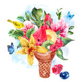 Summer watercolor greeting card with a fruity cocktail. Summer hand drawing watercolor greeting card with a fruity cocktail in waffle cone, flowers isolated vector illustration