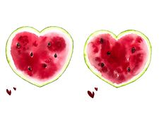 Summer watercolor print with bright watermelons, bright summer postcard stock images