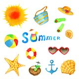Summer watercolor set. royalty free illustration
