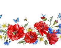Summer Watercolor Vintage Floral Seamless Border Royalty Free Stock Photo