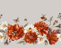 Summer Watercolor Vintage Floral Seamless Border Stock Image