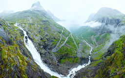 Summer waterfall on mountain slope (Norway). Royalty Free Stock Images