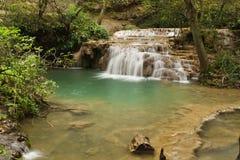 Summer waterfall scene. Fresh summer waterfall in Bulgaria called Krushuna Royalty Free Stock Photo