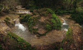 Summer waterfall scene. Fresh summer waterfall in Bulgaria called Krushuna Stock Photo
