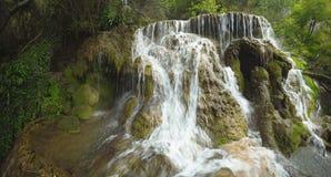 Summer waterfall scene. Fresh summer waterfall in Bulgaria called Krushuna Stock Image