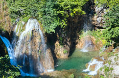 Summer waterfalls in Plitvice (Croatia). Royalty Free Stock Images