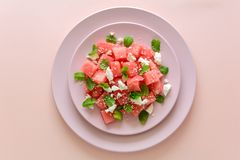 Summer watermelon salad with feta cheese, sesame seeds and mint leaves on pink plate. stock image