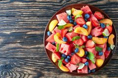 Free Summer Watermelon Salad On A Plate Royalty Free Stock Images - 123370109