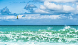 Summer watersport background of kite surfing and blue water Stock Image