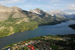 Summer waterton village and lake Royalty Free Stock Images