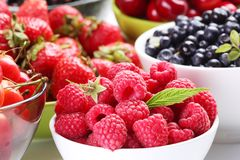 Summer wealth. Variety of berries. Stock Photos