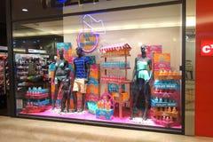 Summer Wear Store Window Display. Aprilia, Italy - 2013 July: Summer wear store window with mannequins at Aprilia2 shopping mall in Aprilia, Italy Stock Photos