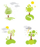 Summer weather. Set of vector icons - the summer weather vector illustration