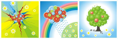 Summer weather. Three abstract illustrations of summer weather Stock Photo