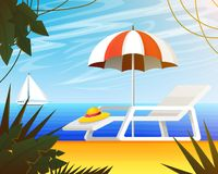 Summer web banner, background for travel. Tropical landscape with palm tree, beach umbrella and deckchair, yacht sail. Ocean. Vacation, Holiday Weekend. Close Stock Photos