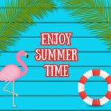 Summer web banner on dark blue wooden background with flamingo bird stock illustration
