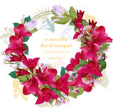 Summer wedding floral round wreath frame card. Vintage bouquet beauty Vector illustration Royalty Free Stock Images