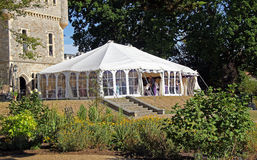 Summer wedding marquee. Photo of summer wedding marquee on castle grounds at whitstable towers in kent. photo taken 17th july 2015 and ideal fro weddings,venues stock photos
