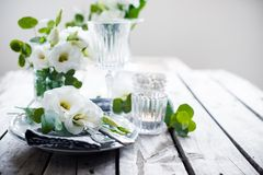 Summer wedding table decoration Stock Photography