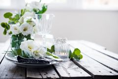 Summer wedding table decoration Royalty Free Stock Image