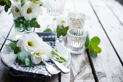 Summer wedding table decoration Stock Images