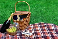 Summer Weekend Picnic With Wine On The Lawn Concept royalty free stock photography