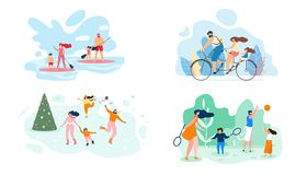 Summer Weekend on River Whole Family Vector Flat stock illustration