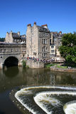 Summer at the weir by Pulteney Bridge, Bath Royalty Free Stock Photography