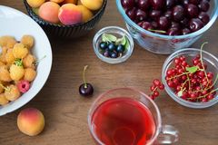 Summer Wellness. Ripe Summer Drink. Summer Berries Food Concept. Summer Wellness. Ripe Summer Homemade Drink. Summer Berries Food Concept Royalty Free Stock Image