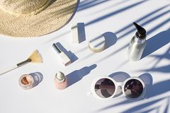 Summer white cosmetics flat lay. Top view beauty composition. Summer white cosmetics flat lay . Top view beauty composition background Stock Images