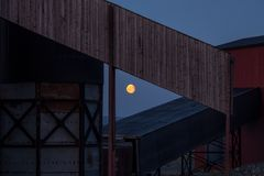 Full moon and industrial motives stock photography