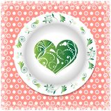 Summer. white plate with floral ornaments Royalty Free Stock Images