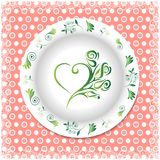 Summer. white plate with floral ornaments Stock Photo