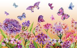 Summer wide banner. Vivid iberis flowers and colorful butterflies on orange background. Seamless panoramic floral pattern. Watercolor painting. Hand painted royalty free illustration
