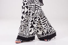 Summer wide black and white trousers with pattern. Royalty Free Stock Photos