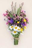 Summer Wild Flower Posy. Over mottled cream background Royalty Free Stock Photo