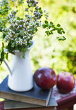 Summer wild flowers in glass vase, old books and apples. Royalty Free Stock Photography