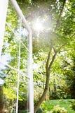 Summer window. Window open to sunny, summer garden; focus on far edge of window frame Stock Photography